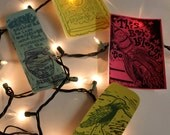 Set of Two Bookmarks and Two Bookplates, hand printed by monster in the closet on etsy