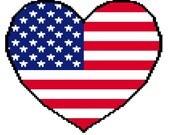 Cross stich or crochet pattern, USA heart flag // Patron de punto de cruz o crochet, bandera corazon EEUU