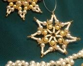 Beaded Chistmas stars, set of 2