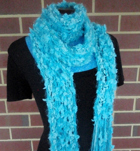 Turquoise Blue  Scarf Hand Crocheted