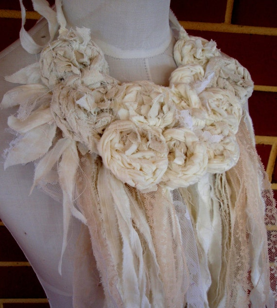 Silk Cotton  Necklace Cream Ivory Beige Rosette hand Crocheted Rose Statement Bib Necklace Original Design Neckpiece OOAK by plumfish