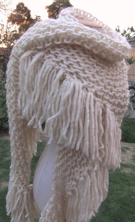 SALE cream mohair soft wool mix  wrap triangle shawl