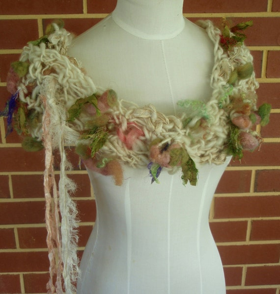Hand spun hand crocheted collar scarf  cream dusty pink roses OOAK by plumfish on etsy
