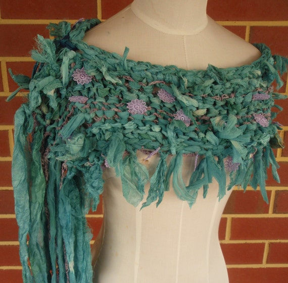 WEEKEND SALE  Hand Dyed Teal Silk Chiffon Tattered Boho  Scarf by plumfish on etsy