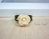 Petite Rose Ring. Ivory. Adjustable