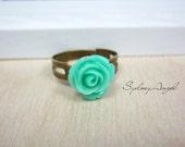 Petite Rose Ring. Sea Green. Adjustable