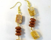 Chunky Fossilized Coral Oblongs and Gold Stone Discs Earrings
