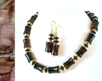 Moody Onyx Bamboo Necklace and Earrings