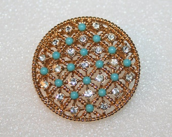 Dotted Turquoise and Rhinestones Vintage Brooch Lattice