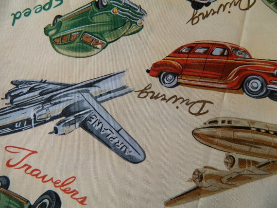 1 YARD Antique Cars, Planes and Trains Cotton Fabric