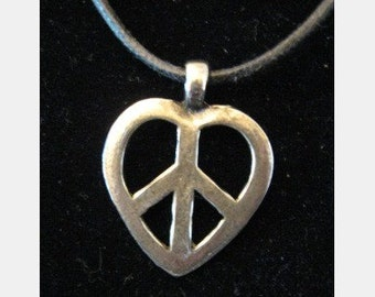 Silver Pewter Heart Peace Sign Necklace