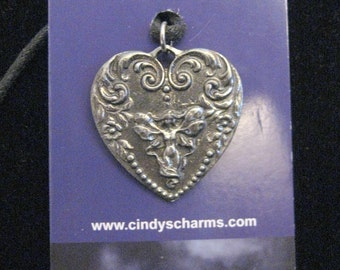 One Silver Pewter Fairy Heart Ornate Necklace Pendant Necklace