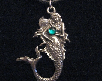 One Silver Pewter Gem Mermaid Pendant Necklace
