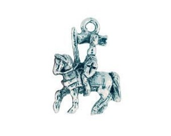 One Silver Pewter Medieval Knight on Horse Charm