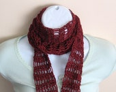 Shimmering Red Scarf. Accessories Women Crochet