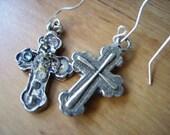 Cross Crucifx Earrings, Christian Goth Steampunk Neo Victorian Watch Parts