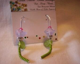 Spring has sprung Czech flower glass bead earring