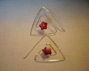 Triangle Lovely Flower Earring
