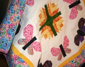 Butterflies and Tulips baby quilt