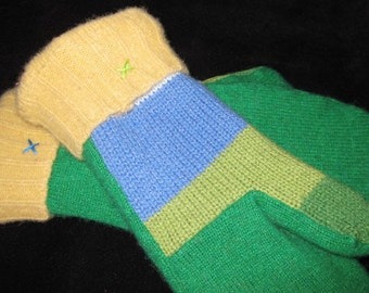 Green Sweater Mittens with Stripes