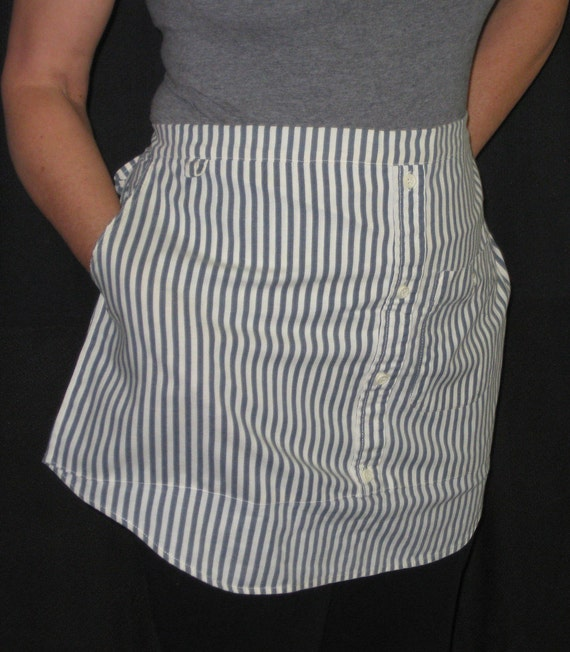 Striped Half Apron made from Upcycled Men's Shirt
