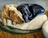 "Yellow Lab & Black Lab Dog Giclee Print ""Faithful Friends"""
