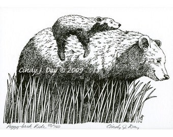 "Momma Black Bear and Baby Bear Pen & Ink Print (8"" x 10"") ""Piggy-back Ride"""