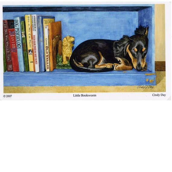 "Sleeping Dachshund Giclee Print (Small Size) ""Little Bookworm"""
