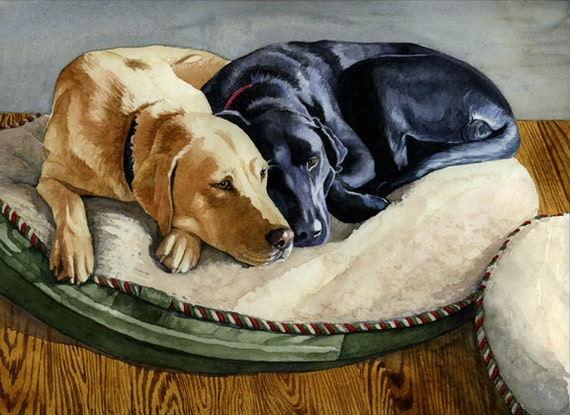 "Yellow Lab & Black Lab Dog Giclee Print ""Faithful Friends"" 8"" x 10"""