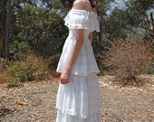 70s White Eyelet Summer Garden Wedding MAXI Dress