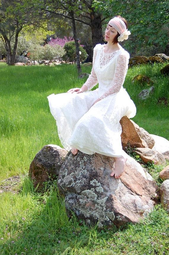 Vintage 80s Ivory Lace Bohemian Wedding Spring Drop Waist Maxi Dress