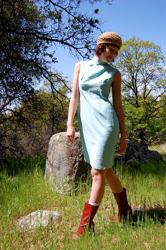 Vintage 60s Aqua Blue Swiss Dot Asian Cheongsam Dress