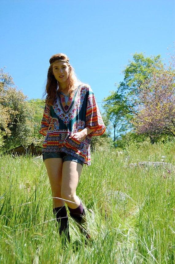 Vintage Summer Dashiki 70s Teal Green Tribal Ethnic Dashiki Hippie Drifter Tunic Blouse