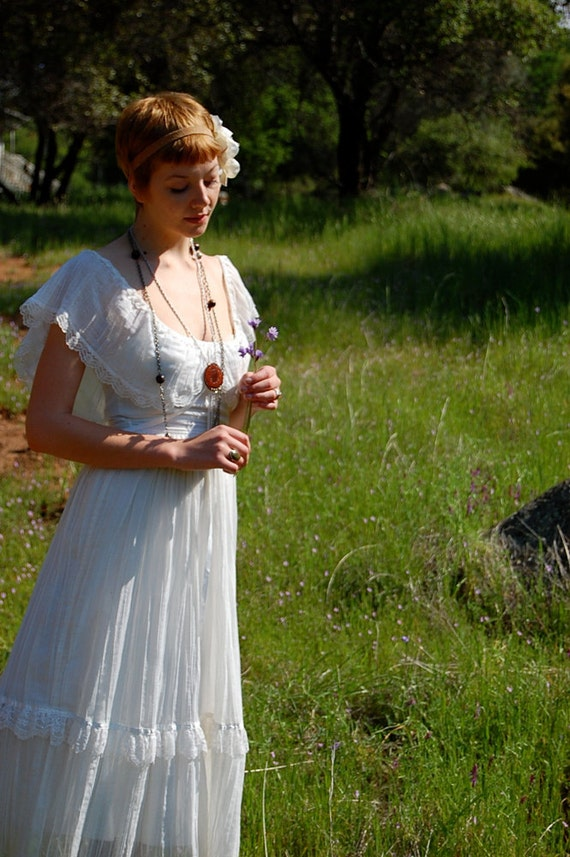 Vintage 70s Gunne Sax Dress, White Gauze GUNNE SAX Prairie Revival Empire Maxi Dress
