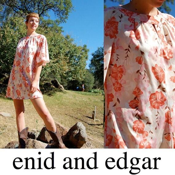 Mod Mini Dress Vintage 60s Spring Floral Mod Twiggy Tent Mini Dress (m l xl)