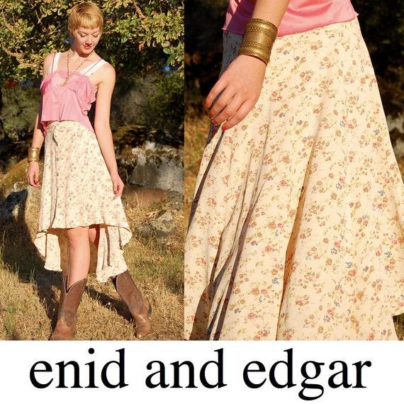 Fishtail Skirt Vintage 80s Cream Ditsy Floral Boho Hipster Fishtail Skirt