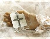 hope - elegant cross & paper lace art tags