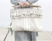 sea flower gatherer - a faux grain sack cloth whimsy tote