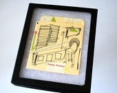"Family Pastime - retro mini book pocket art in display case: one of a kind (6x5"")"