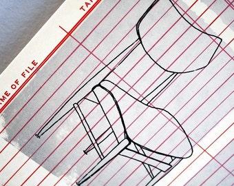 GOLDILOCKS   midcentury modern chairs art, an original screenprint / serigraph on vintage office paper by Kathryn DiLego