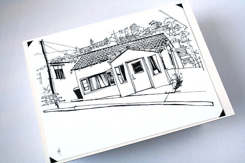 The Bungalow Los Angeles City House Drawing In Pen And Ink
