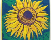 Sunflower Linoleum Block Print