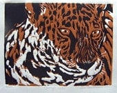 Jungle Cat Wood Block Print