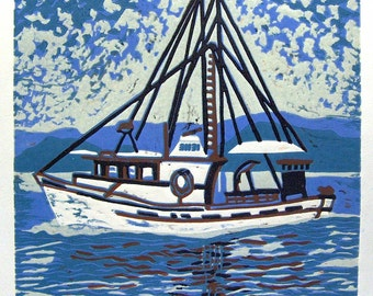 Alaska Fishing Linoleum Block Print, Linocut, Fine Art Print, Home Decor, Fishing Decor, Boat Print, Linocut, Alaska
