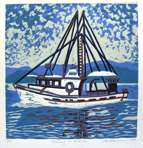 Alaska Fishing Linoleum Block Print