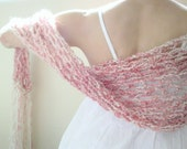 Tea Roses and Sweet Cream handknit shawl . wrap . stole . mantle