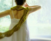 Don't Leave Me This Way . Mori Girl handknit scarf of trailing leaves