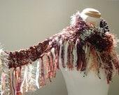 jakarta scarf . fall fashion winter accessories . rust, brown, ginger, champagne, auburn . vegan fibers . warm earthy exotic wood tones