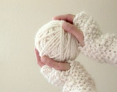 cream puff . handknit fingerless mittens . winter white fingerless gloves . winter accessories . hand warmers