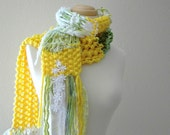 pushing up daisies scarf . handknit with vegan yarns and eco friendly vintage fabrics in fresh yellow , greens and white